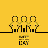 Happy Friendship Day. Two black woman female and one man male silhouette sign symbol.  Royalty Free Stock Photo