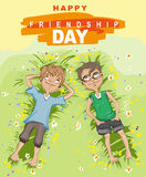 Happy friendship day. Two boy lying on green grass and looking up. Vector illustration for greeting card royalty free illustration