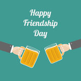 Happy Friendship Day Two hands and clink beer Royalty Free Stock Image