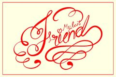 Happy Friendship Day. Vector illustration of Happy Friendship Day calligraphic design Stock Photos