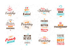 Happy Friendship day vector typographic design. Stock Photo