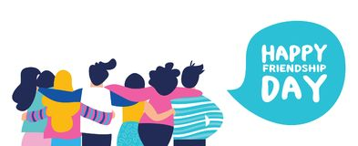 Happy friendship day banner of big friend group royalty free illustration