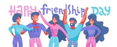 Happy friendship day web banner with diverse friend group of people hugging together for special event celebration. Vector flat vector illustration