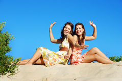 Happy friens in the sun Royalty Free Stock Photo