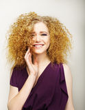 Pleasure. Happy Face of Frizzy Redhead Woman. Joy Stock Images