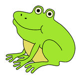 Happy frog. Happy fat frog. Funny cartoon illustration Stock Photos