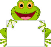 Happy frog cartoon with sign Royalty Free Stock Photos