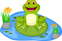 Happy frog cartoon sitting on a leaf Royalty Free Stock Photography