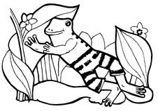 Happy Frog , coloring book, black and white page royalty free illustration