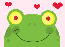 Happy frog with hearts Stock Image