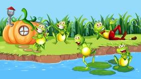Happy frog next to river. Illustration royalty free illustration