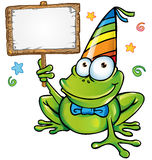 happy frog party with signboard Royalty Free Stock Images