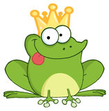Happy frog prince cartoon character Stock Photos