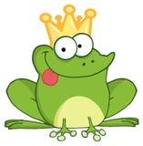 Happy frog prince cartoon character Stock Photos