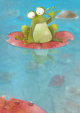 Happy frog sitting on a lily pad waving Stock Photo