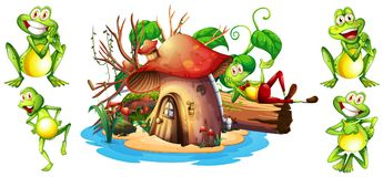 Happy frogs and mushroom house. Illustration Royalty Free Stock Photography