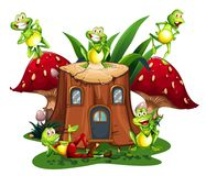 Happy frogs on wooden log house. Illustration Stock Photography