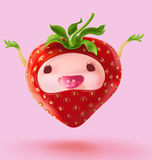 Happy Fruit cartoon I`m strawberry Stock Photography