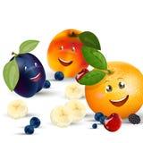 Happy Fruit Characters Stock Photos