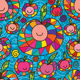 Happy fruit drawing seamless pattern Royalty Free Stock Image