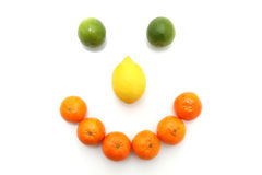 Happy fruit face. Smiling happy face made from citrus fruit Royalty Free Stock Image