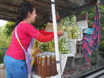 Happy fruit seller Stock Images