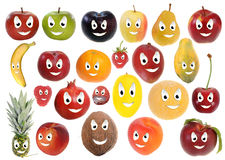Happy fruit smileys Stock Photos