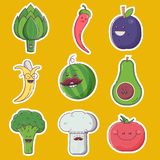 Happy Fruit and Vegetable Characters Royalty Free Stock Photos