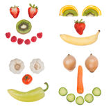 Happy fruit and vegetable faces Royalty Free Stock Photography