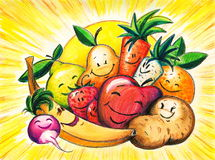 Happy fruits. Royalty Free Stock Images
