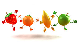 Happy fruits Stock Image