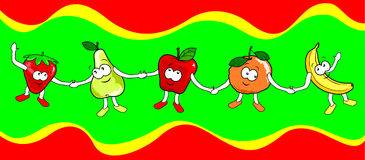 Happy Fruits. This illustration shows five different fruits with human expressions that are held by the hand Stock Photo