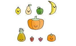 Happy fruits. With eyes and mouth Stock Photography