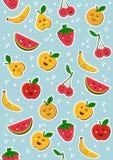 Happy fruits pattern background Royalty Free Stock Photo