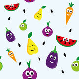 Happy fruits pattern. Seamless pattern with happy fruits and vegetables Royalty Free Stock Photography