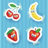 Happy fruits with smiling faces, cartoon illustration Stock Images