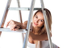 Happy Fun Attractive Woman With Stepladder. Stock Photos