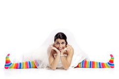 Happy fun bride stock image