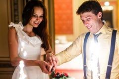 Happy fun bride and groom cuting big white weddin cake decorate Stock Images