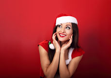 Happy fun excited happy woman in santa claus christmas costume l Stock Image