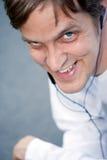 Happy fun guy on his phone Stock Photos