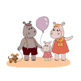 Happy fun Hippopotamus family. In cartoon style. Father Hippo with small dog, Mother and baby hippo with balloon. Vector illustration on a white background Stock Photography