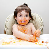 Happy fun messy eater Royalty Free Stock Image
