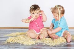 Happy fun messy eaters Stock Photography