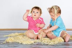 Happy fun messy eaters Royalty Free Stock Image
