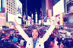Happy fun woman in New York, Times Square Royalty Free Stock Photos