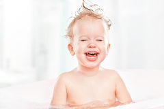 Happy Funny Baby Laughing And Bathed In Bath Stock Image