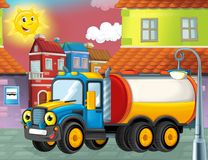 Happy and funny cartoon cistern truck looking and smiling driving through the city or parking near the garage Royalty Free Stock Photos