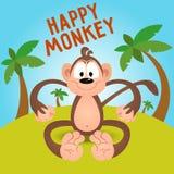 Happy funny cartoon monkey in vector.  stock illustration