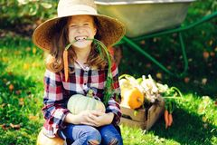 Happy funny child girl in farmer hat and shirt playing and picking autumn vegetable harvest. In sunny garden. Growing organic carrots and pumpkins Royalty Free Stock Photography